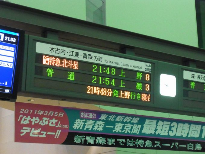函館駅寝台特急北斗星上野行き表示