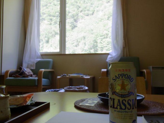 札幌小金湯温泉まつの湯湯上がりに冷えたサッポロクラシック