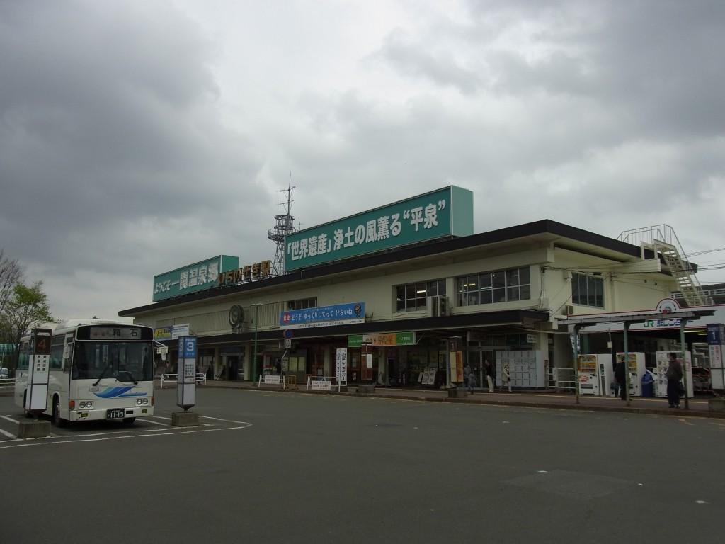 曇天の一ノ関駅