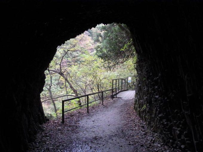 抱返り渓谷遊歩道の素掘りのトンネル