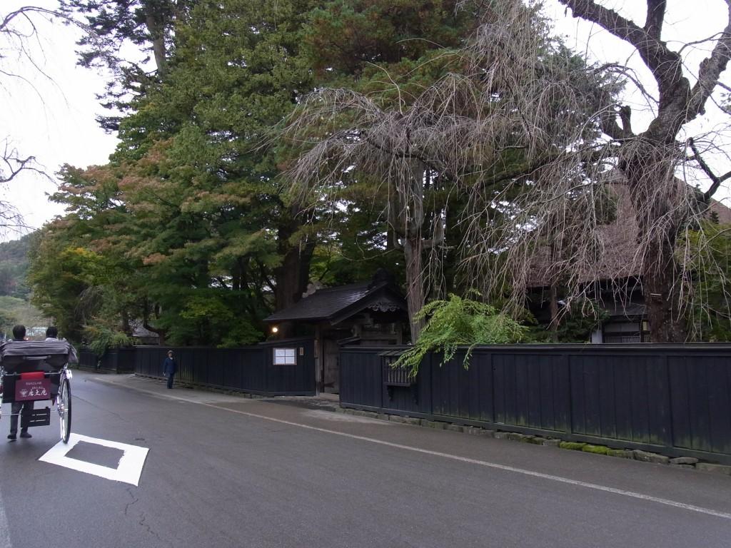 秋色の角館武家屋敷の黒塀と枝垂れ桜