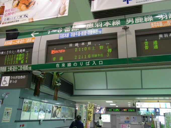 秋田駅あけぼの号上野行き行先表示