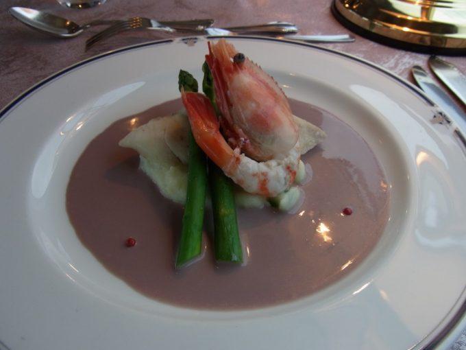 寝台特急北斗星食堂車グランシャリオ牡丹海老と白身魚のワイン蒸し赤ワイン風味のクリームソース