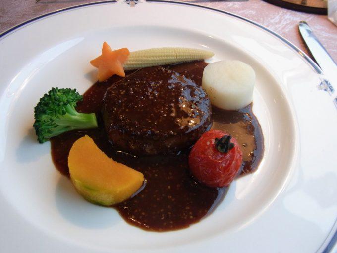 寝台特急北斗星食堂車グランシャリオ牛フィレ肉のソテー大地の野菜添えマスタードソース