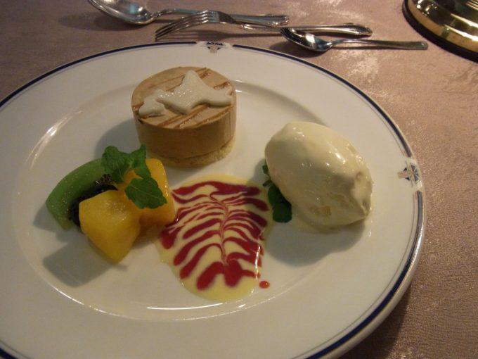 寝台特急北斗星食堂車グランシャリオフランス料理コースの最後を彩るデザート