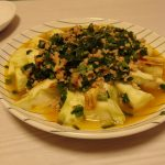 焼きなすのにら鶏味噌掛け・いかとアスパラの貝焼き味噌風・ささみと山東菜のつるんと煮浸し