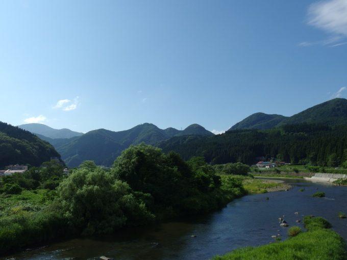 夏の空、山と川