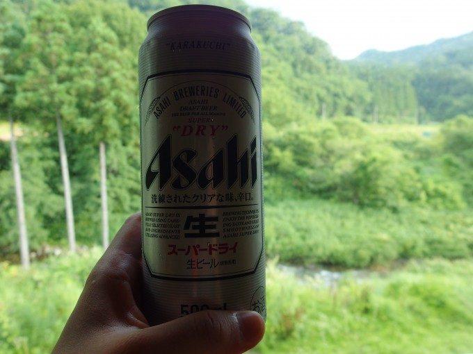 打当温泉マタギの湯湯上がりに冷たいビール