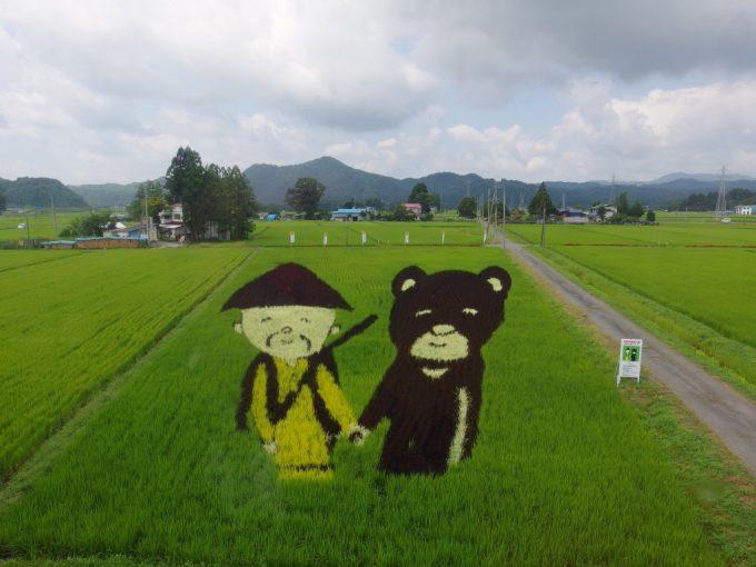 秋田内陸線田んぼアートマタギとクマ
