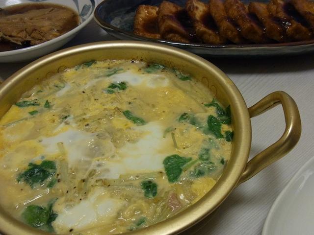 スパムと玉ねぎの味噌卵とじ