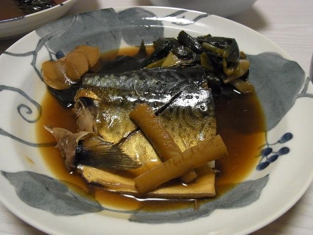 鯖と葉玉ねぎの煮付け