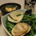 空芯菜とはまぐりのにんにく炒め・花にらとあおやぎの梅ぬた・野せりのしらすおろしレモン風味