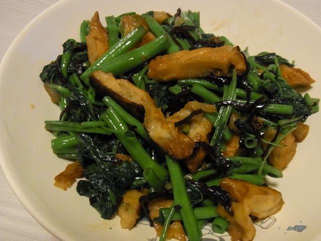 空芯菜とさつま揚げの塩昆布炒め