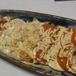 えびとほたての焼きカルパッチョ風・赤なすのスパイシートマ塩麹煮込み