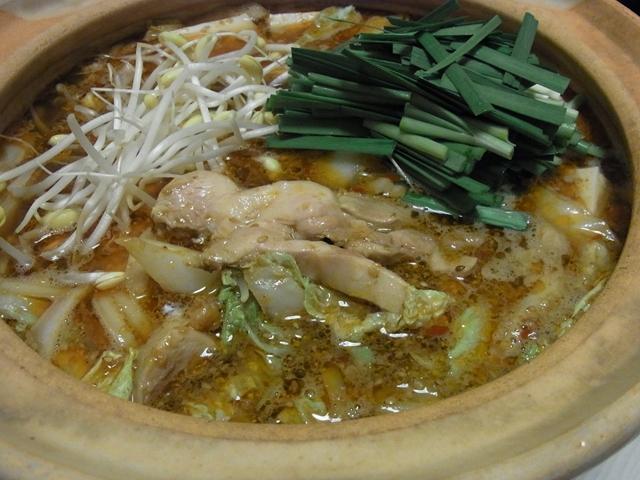 ピリ辛チキンごま醤油鍋