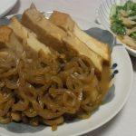 ほたてと厚揚げの炒め煮・山東菜と豚バラのペペロン炒め