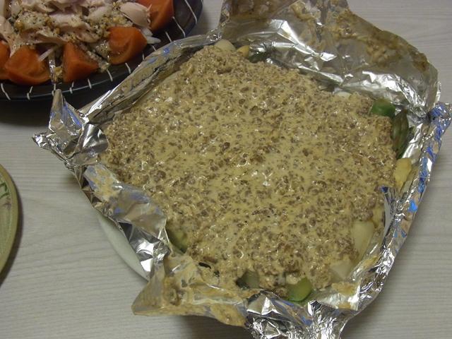 アスパラのピリ辛牛挽きマヨ焼き