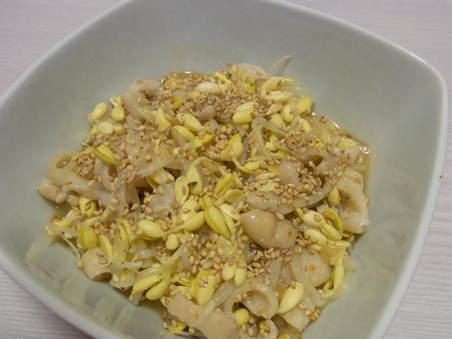 豆もやしと鶏皮のさっぱりナムル