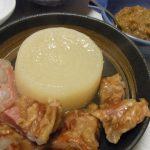 源助大根と豚バラ軟骨のふろふき風・山東菜の中華そぼろあん