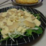 ほたてのカルパッチョわさびマヨソース・貝ひもと山芋のバター炒め・スパムと玉ねぎの味噌卵とじ