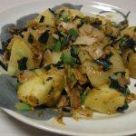ねぎ味噌バターポテト・ねぎ塩せせりこんにゃく・空芯菜と炒り卵のごま塩昆布ナムル