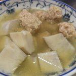 だしいらず!海老芋とおかか鶏だんごの煮物・せせりと加賀れんこんのきんぴら・雪うるいと菜の花のじゃこサラダ