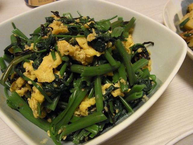 空芯菜と炒り卵のごま塩昆布ナムル