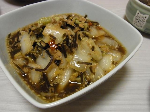 白菜とツナの塩昆布炒め煮