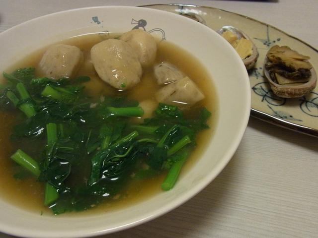 菜の花と海老芋の煮貝汁煮