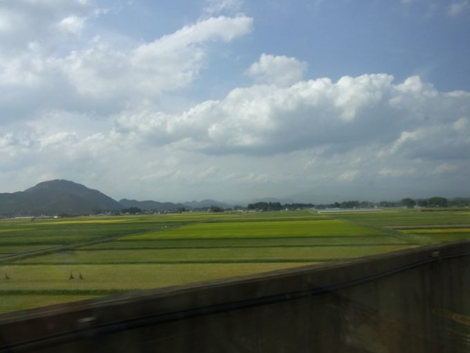 東北新幹線流れる車窓福島の田んぼは秋の彩