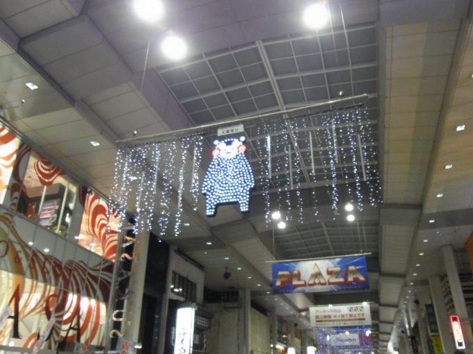 冬の熊本のアーケードくまモンのイルミネーション