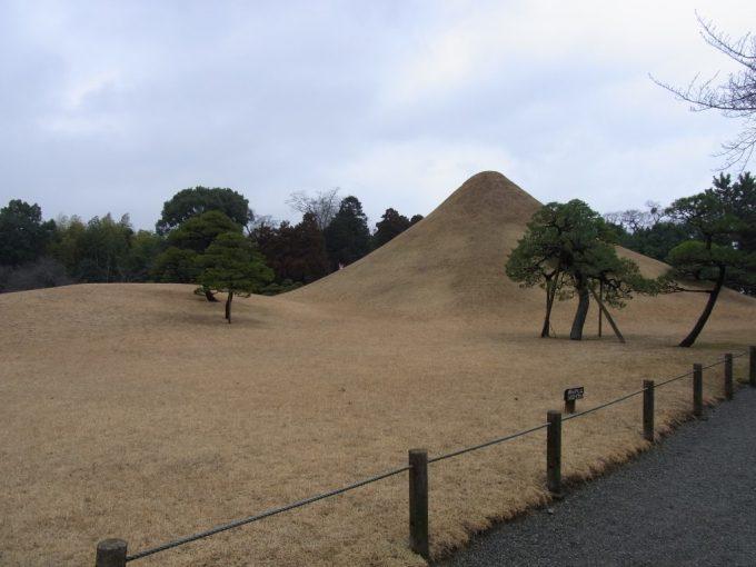 冬枯れの芝の熊本水前寺公園