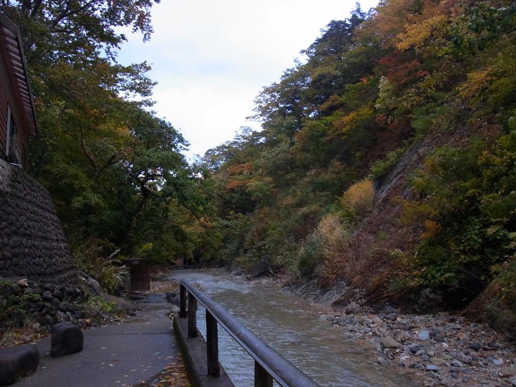紅葉に彩られる夏油川