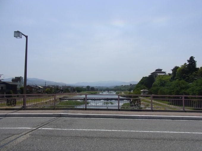初夏の金沢犀川と残雪の山
