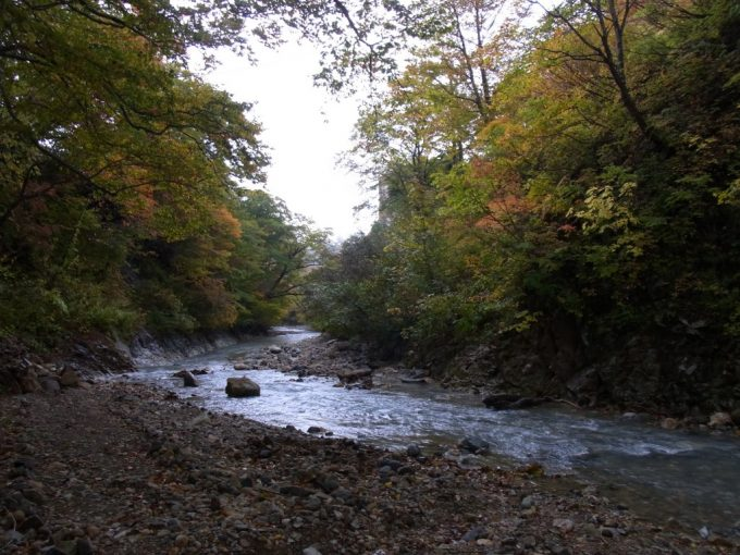 穏やかに流れる夏油川と色づく木々