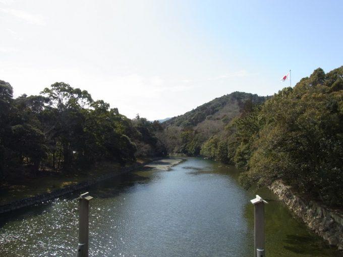 冬の伊勢神宮内宮宇治橋から眺める五十鈴川