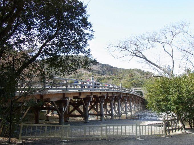 冬の伊勢神宮内宮五十鈴川のほとりから眺める宇治橋と青空