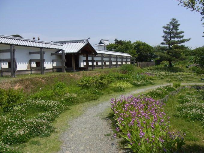 金沢城鶴の丸広場白壁と草花
