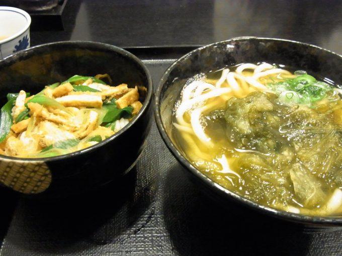 京都駅もり平おぼろ昆布うどんと九条ねぎの丼