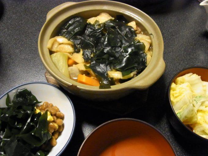 大沢温泉自炊湯治献立三平汁と三陸わかめ納豆