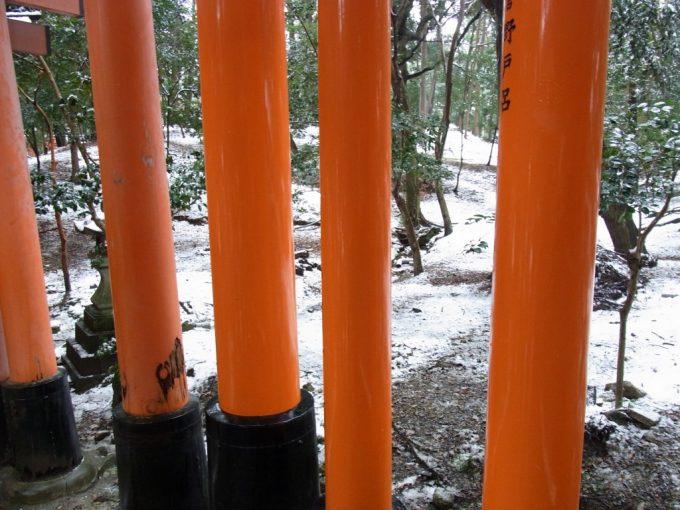 冬の京都伏見稲荷大社鳥居の朱と雪の白