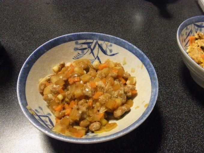 大沢温泉自炊湯治根菜納豆で材料使い切り