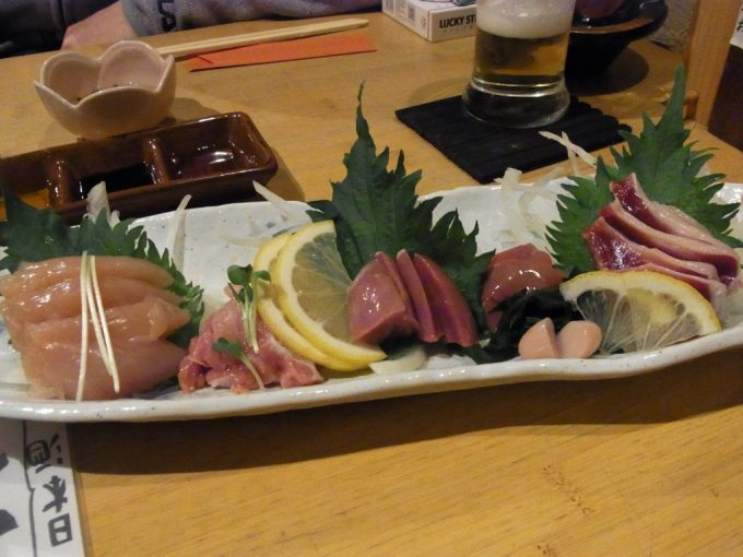 京都花園竹とり本店鶏のお刺身盛り合わせ