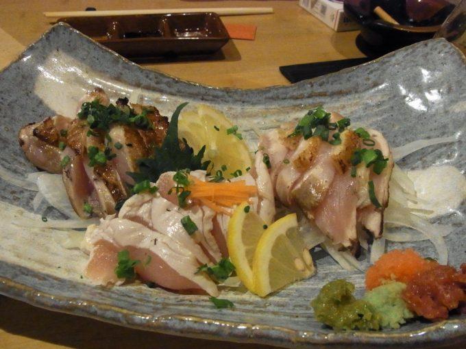 京都花園竹とり本店鶏のたたき盛り合わせ