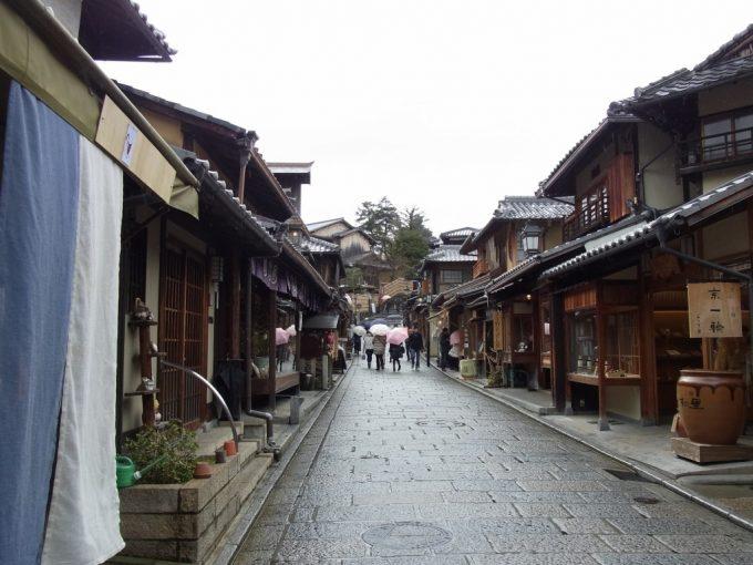 冬の京都雨に濡れる街並み