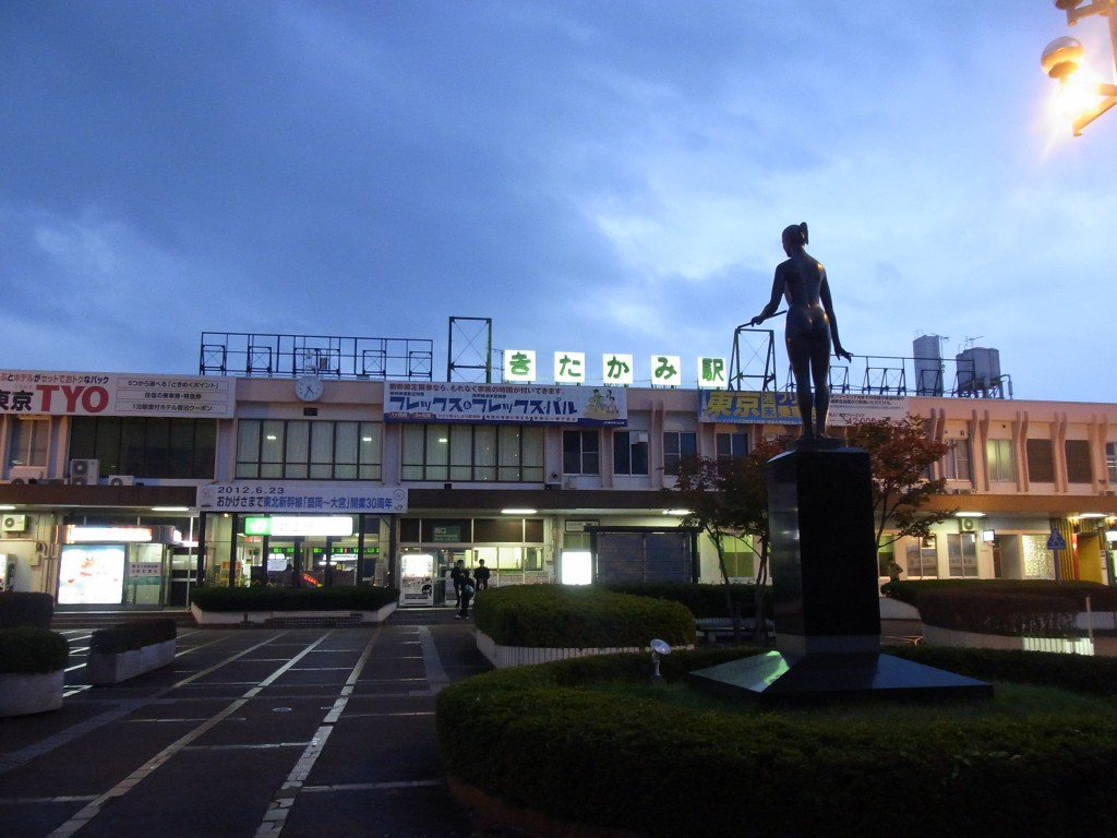 夕暮れ時の北上駅