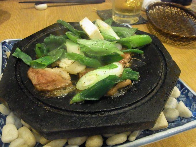 京都自然酒菜一瞬鴨と九条ねぎの溶岩焼き