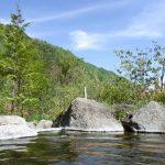 信州秘湯中房温泉月見の湯から眺める新緑