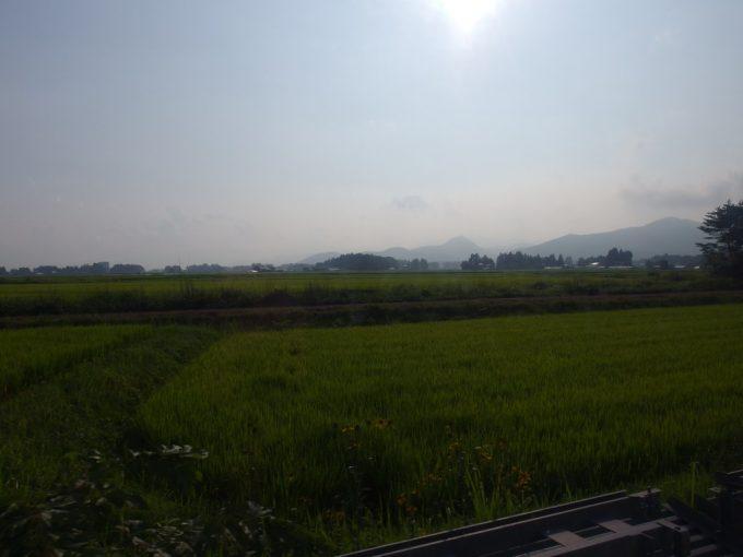 岩手県交通バス車窓に広がる夏の田んぼ