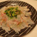鯛とせりのナムル風カルパッチョ・くじらとにんにくの芽のしょうがカレー炒め